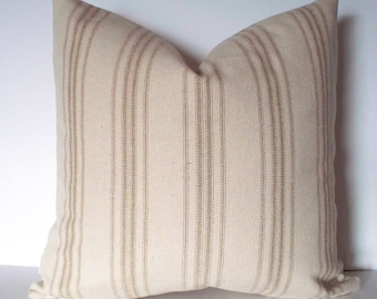 Grain Sack Pillow Cover, Tan Farmhouse Pillow Tan Cottage Pillow French Grain Sack 0
