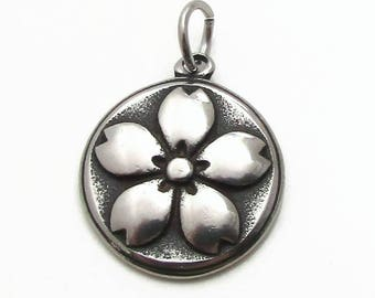 Magnolia Charm, Stainless Steel Charm, Jewelry Pendant, SST Findings 19mm, Set of 3, Flower Charm, Stainless Steel Pendant, Magnolia Flower