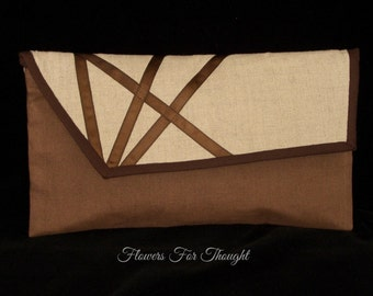 Brown Linen Envelope Clutch, Elegant Wristlet Purse, Mother of Bride or Groom Gift