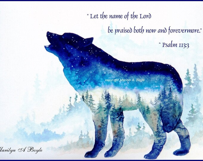 SPIRITUAL CARD - HAND Made; approximately 5 x 7 inch with envelope, greeting card, blank, wolf, from my own original art