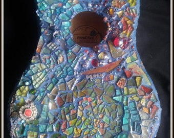 Hand-painted Glass Mosaic Guitar Life-size