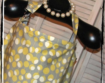 Sale 20% OFF Ready 2 Ship - Mustard Martini Dot HideAway Nursing Cover with Overall Buckle