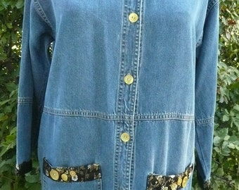 Jacket Denim Womens Upcycled Medium Casual Living Denim and Lace Casual Fridays Travel Clothing Vacation Wear Easy to Pack Easy Care