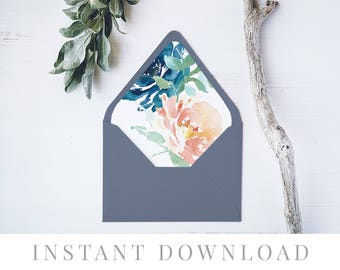 Printable Envelope Liner INSTANT DOWNLOAD, 11 Sizes, Liner template, Envelope Liners, DIY Envelope Liner, A7 Liner, Square, Euro, Botanical