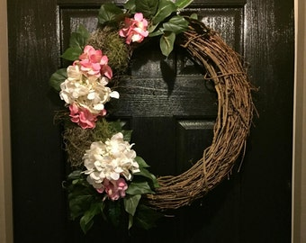 Door Wreath Hydrangea, Hydrangea Wreath, Florida Wall Decor, Green Moss, Grapevine Wreath, Natural Wreath, Front Door Wreaths, Door Decor