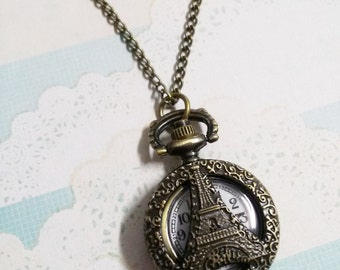 "Pocket Watch Necklace Antiqued Bronze Necklace Clock Necklace 31"" Sweater Chain Eiffel Tower Necklace Paris Necklace Working Pocket Watch"