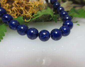 Lapis Lazuli ball Strand 9 mm, naturally beautiful polish