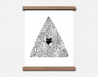 Cat In A Plant Pyramid - 8 x 10 Screen Print