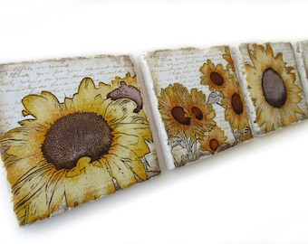 Sunflower Coasters Set of 4, Stone Coasters, Country Decor, Gift for Women, Sunflower Decor, Drink Coasters, 4 Coaster Set,