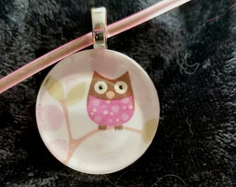 Pink Owl Pendant w/ Matching Rubber Necklace