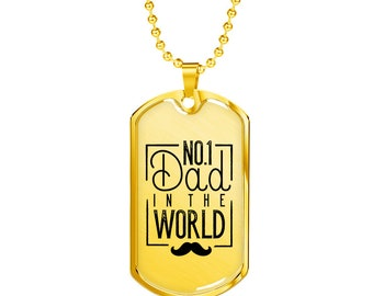 No 1 Dad In The World - 18k Gold Finished Luxury Dog Tag Necklace, Dog Tag Pendant