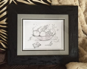 "Wall Art, Pencil Drawing Original Framed Art, Artwork, Wall Art, Drawing Home Decor Titled: ""Harmony Among Friends"""
