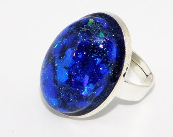 Resin Rings for Women, Adjustable Ring for Women, Oval Bezel Ring, Deep Blue Galaxy Glitter Ring, Resin Jewelry for Women, Oval Cabochon