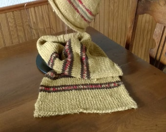 Hemp and wool scarf and coordinating hat