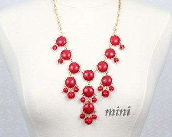 Red Bubble Necklace  Bib Necklace Mini Version