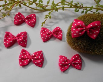 6 knots in fuchsia and white polka-dots - 4cm / 2.5 cm