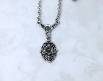 Floral drop necklace women jewelry gift girlfriend petite layering Simply bracelet earring ring coordinating