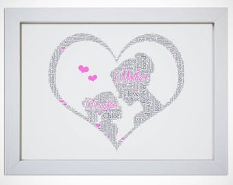 Personalised Mother & Daughter Heart Word Wall Art Print Birthday Mothers Day Gift Mum