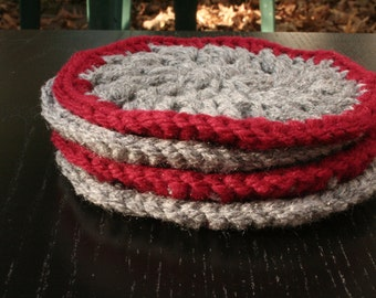 Set of 4 Crochet Coasters in Dark Red and Heather Gray