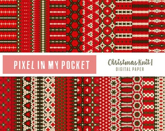 Red, Green & White Christmas Knit II Digital Patterned Paper Pack [Instant Download]
