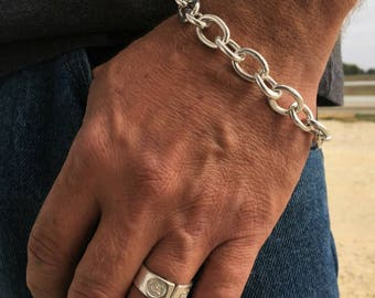 Backyard Silversmiths® Silver Chain Link Bracelet- Mens Chain Link Bracelet, Rocker/Biker Jewelry, Gifts for Men, Handmade, Hammered Silver