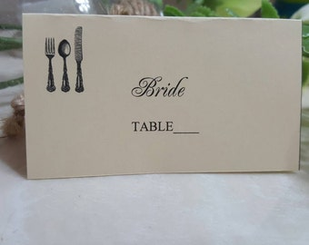 Wedding Place Card - You Design - your choice of colors-Cards are 0.65 each with the guest name- 0.40 each  in blank