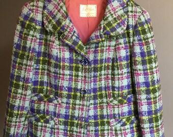 Vintage, 1940, Tweed Wool Jacket, Hand Tailored, medium