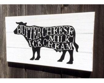 Cow Farmhouse Sign, Cow Decor, Farmhouse Kitchen Decor, Milk Sign, Ice Cream Sign, Rustic Farm Style Sign, Typography Sign, Farm Fresh Sign
