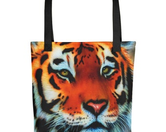 Tiger Tote bag, bold, colorful, fashion tote, beach tote, travel tote. Colored handles Tiger tote for Tiger lovers animal lovers, Tiger love