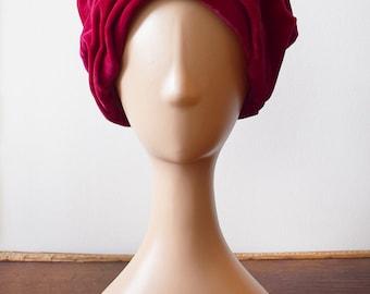 1950s Pink Velvet Slouch Dress Hat