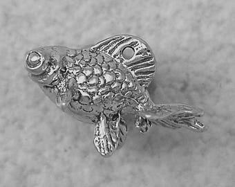 Green Girl Studios Pewter Opal Goldfish Charm