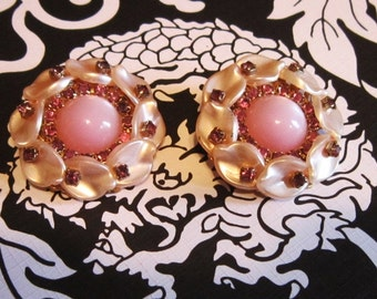 Vintage Pink Shell and Rhinestone Clip Earrings