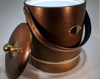Vintage Brown Vinyl Ice Bucket