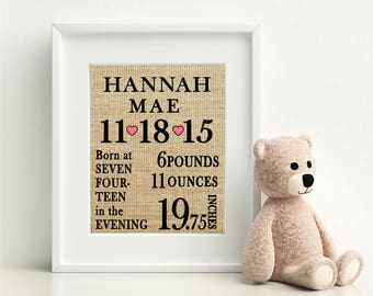 Burlap Newborn Sign   New Baby Sign   Baby's Weight, Length, and Time of Birth