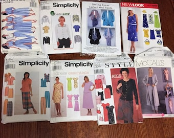 8 Sewing Patterns from 1990 and 2000's Simplicity and McCall's