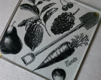 Vintage Gardening Motif 4 Glass Coasters