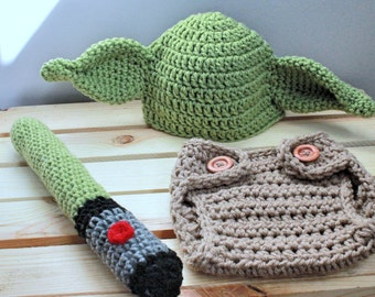 Crochet newborn Yoda Star Wars inspired baby photo prop hat, lightsaber, diaper cover |halloween costume|sizes: newborn to 24 months availab