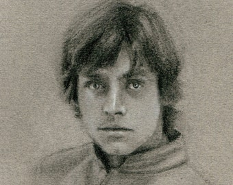 Original Charcoal Drawing: Luke Skywalker - The Empire Strikes Back