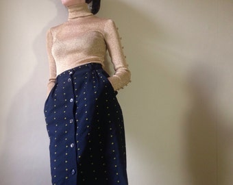 Vintage 80s Mondi high waisted black and gold pencil/wiggle skirt size 38/8 small 10