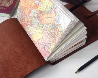 Personalized travel journal, map notebook, travelers notebook, travel gifts, brown leather, monogram optional, A6
