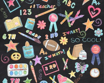 155 Colored Chalk School Elements/Clipart **** Instant Download****