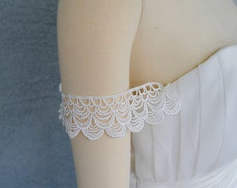 Detachable Off White Scalloped Lace Straps to Add to your Wedding Dress it Can be Customize