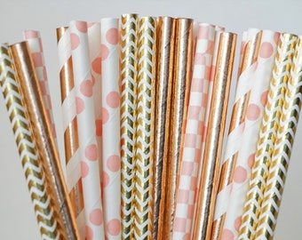 Pink and Rose Gold Straws, Baby Shower Decor, Summer Party Decorations, Bridal Party Decorations, 25 Straw Piece Mix