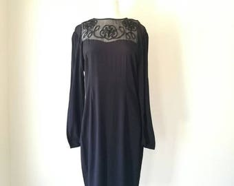 Vintage 1980s  semi sheer black  dress Susan Macy