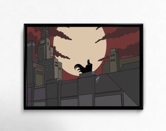 Batman the animated series, Gotham city, batman and robin, comics cartoon art prints poster