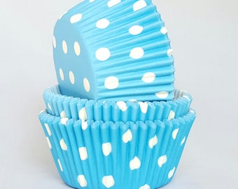 High Quality Blue & White Polkadot Standard Size Cupcake Cases Cupcake Liners