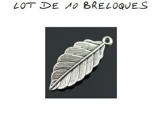 Set of 10 charms feather / leaf 3cm silver plated (E05)