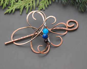 Blue agate Copper hair pin Rustic copper hair pin Textured hair clips for women  Rustic hair barrette Copper accessories Shawl pin