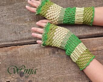 Crochet fingerless gloves, cotton lace gloves, boho gloves, crochet mittens, green emerald gloves, hippie gloves, openwork knitted gloves