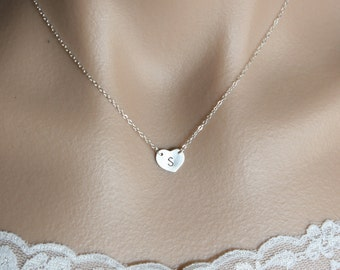 Single Initial Heart Necklace - You can make your choice of Gold Filled or Sterling Silver, Personalized Jewelry , everyday wear, Sweet gift